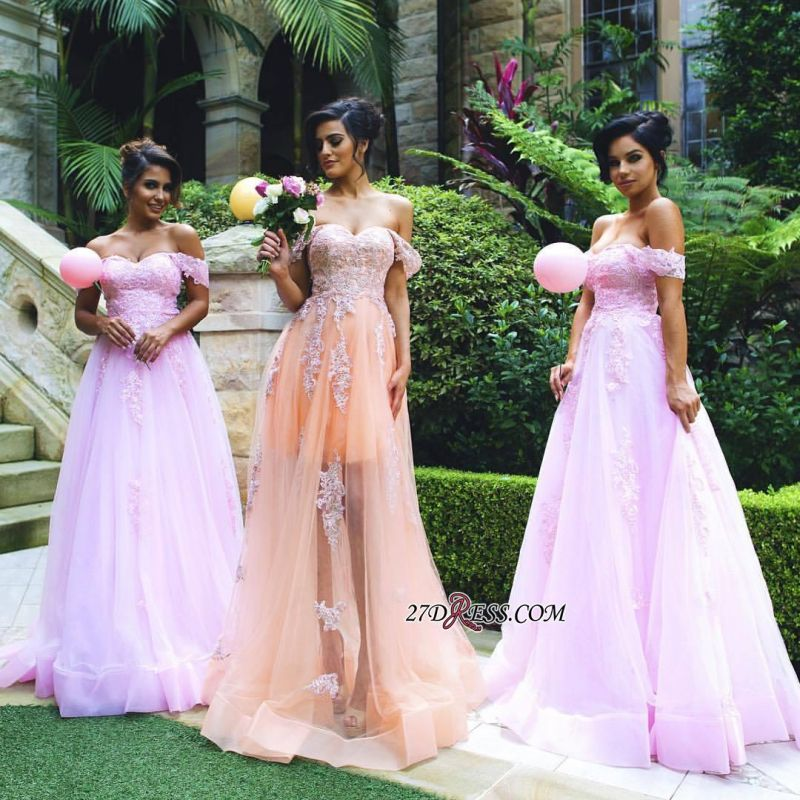 Lace Off-the-shoulder Gorgeous Appliques Tulle Prom Dress