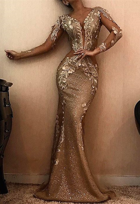Stunning Long Sleeve Mermaid Prom Dresses | 2020 Long Appliques Evening Gowns BC0901