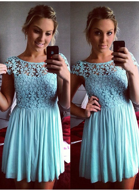 Lovely Cap Sleeve Lace 2020 Homecoming Dress Short Party Gowns BA3719
