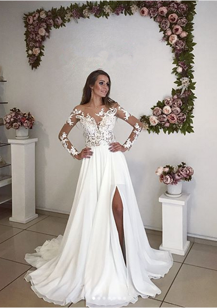 Elegant Long Sleeve Lace 2020 Wedding Dress Chiffon With Split
