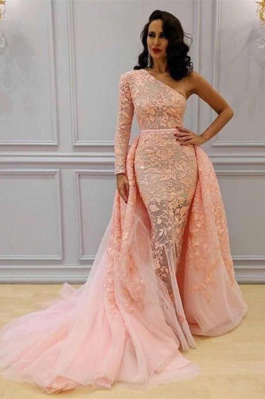 Glamorous Long Sleeve Lace Evening Dresses | 2020 One Shoulder Mermaid Prom Dress Overskirt