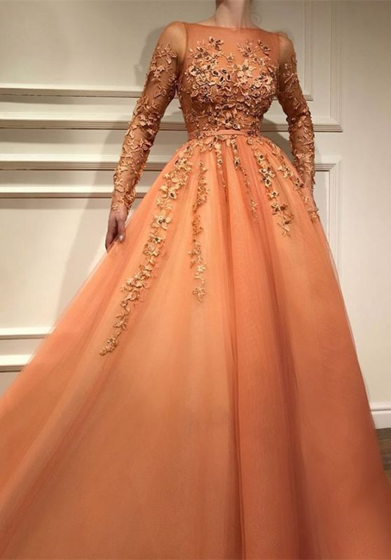 Living Coral Long Sleeve Prom Dresses | 2020 Lace Appliques Evening Gowns BC2054