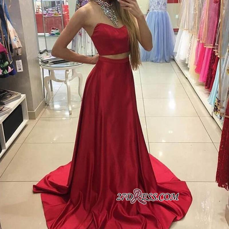 A-line Simple Sleeveless Long Red Two-Piece Prom Dresses