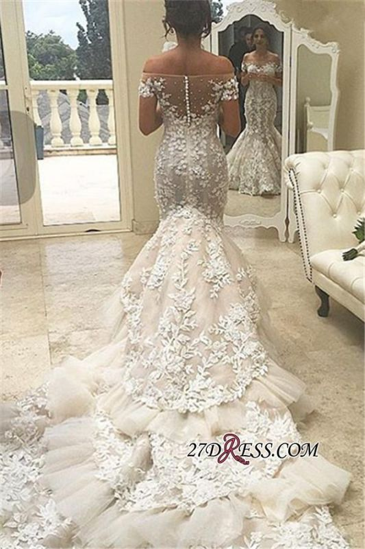 2020 Tiered Mermaid Elegant Off-the-Shoulder Appliques Buttons Tulle Wedding Dress qq0226