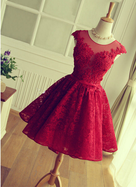 Delicate Red Lace Appliques 2020 Homecoming Dress Mini Cap Sleeve BA3604