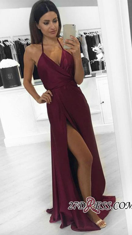 Burgundy Halter Long V-neck Sleeveless Side-Slit Sexy Evening Dresses BA3834 BK0