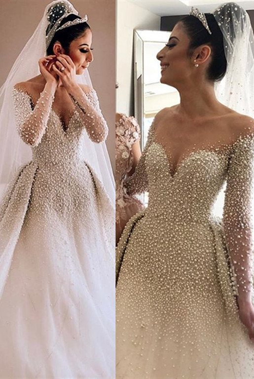New Arrival Elegant Long Sleeves Sweetheart Bridal Gown | 2020 Pearls Overskirt Wedding Dress On Sale