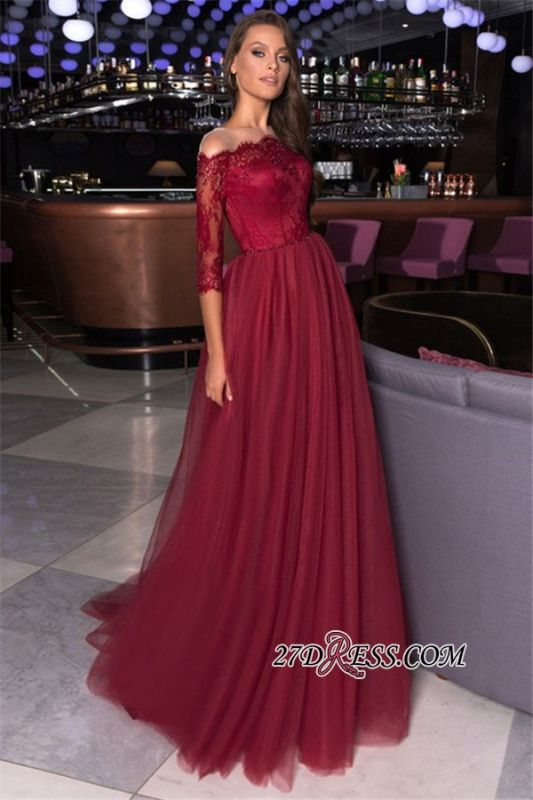 Beading Elegant A-line Lace Formal Off-the-shoulder Evening Dress