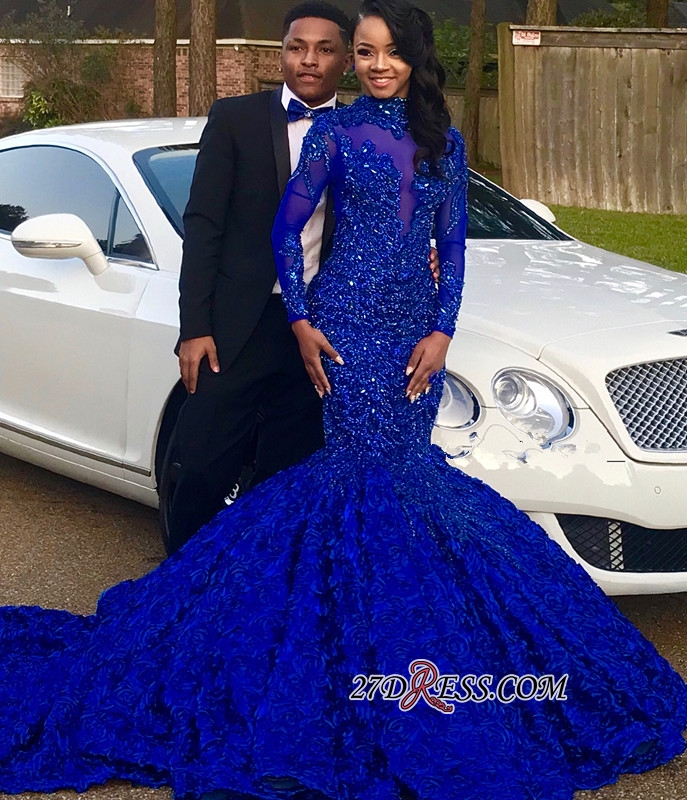 Royal Blue High-Neck Applique Mermaid Prom Gown | Glamorous Long-Sleeves Flower Evening Gown