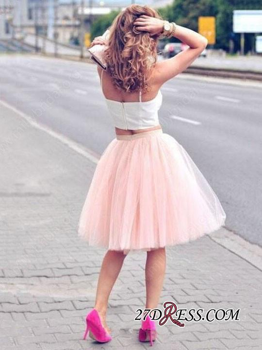 White Sexy Tulle Pink Spaghetti-Strap Sleeveless Two-Piece-Homecoming-Dress