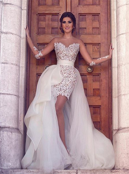 Gorgeous Long Sleeve Lace Appliques Prom Dresses 2020 Tulle Short Skirt MH309