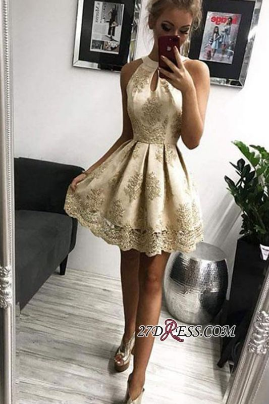 Appliques Short A-Line Jewel Outstanding Homecoming Dresses