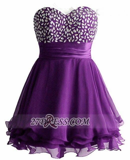 Elegant Sweetheart Sleeveless Short Homecoming Dress Crystals Lace-up Chiffon Purple Cocktail Gown