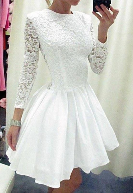 Modern Long Sleeve White Homecoming Dress 2020 lace Short prom Gowns TH019
