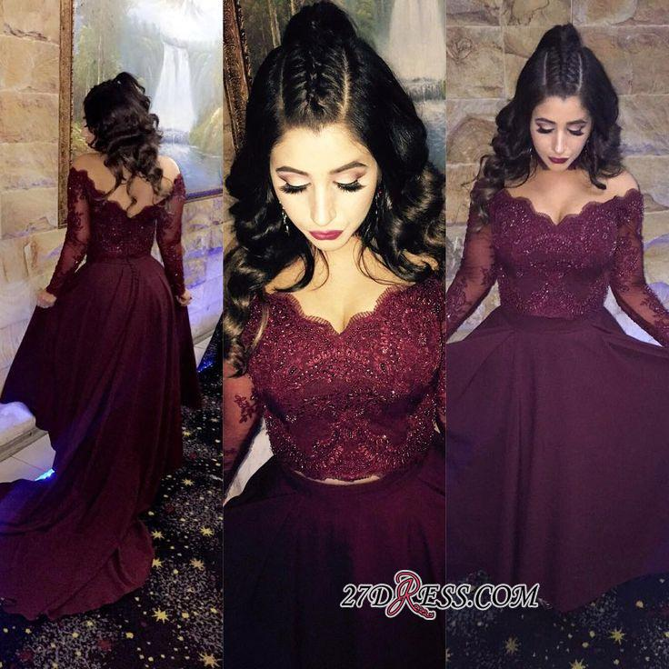 Hi-lo Lace-Appliques Newest A-line Long-Sleeve Beads Prom Dress SP0308