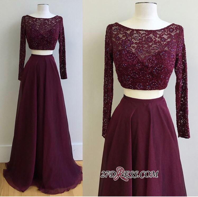 Long-Sleeve Burgundy Gorgeous Lace Two-Pieces 2020 Evening Dress PT0177