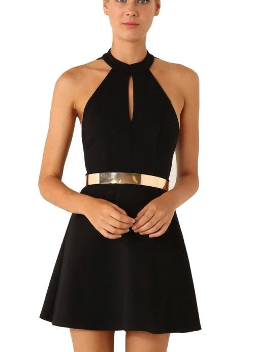 Sexy Black Halter Lace Sleeveless Homecoming Dress With Golden Belt
