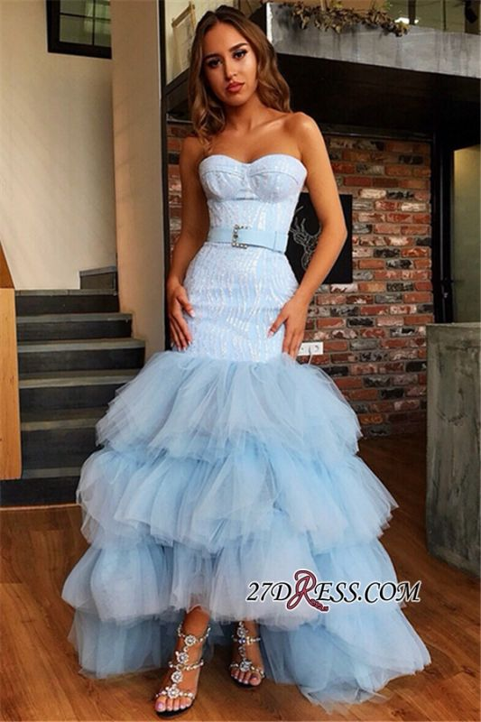 Chic Tiered High Low Mermaid Prom Dresses   Sweetheart Sleeveless Appliques Evening Dresses