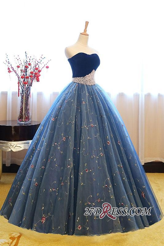 Sweetheart Embroidery Exquisite Pearls Puffy 2020 Prom Dresses Online