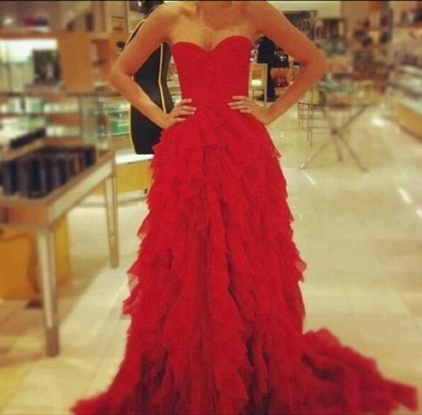 Red Sweetheart Ruffles evening party Dress 2020