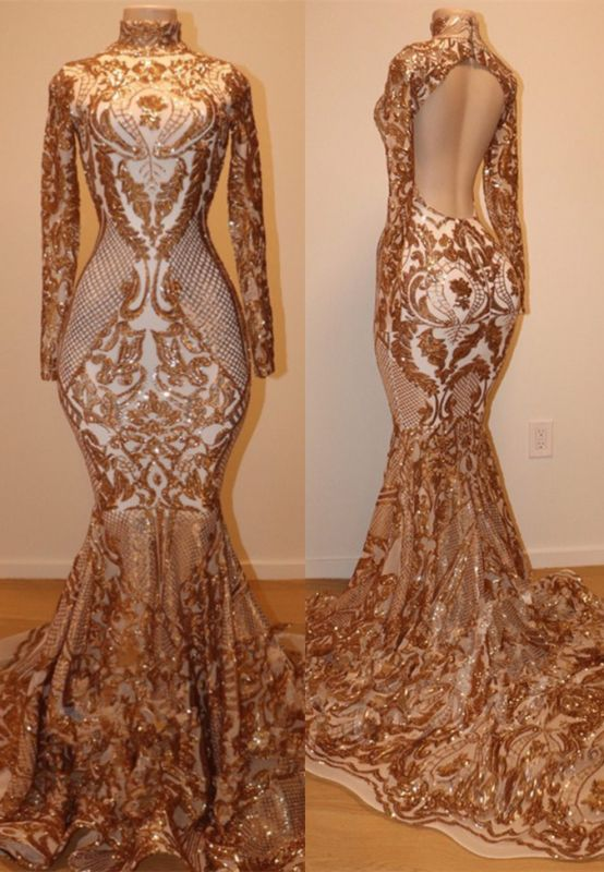 Gorgeous Long Sleeve Gold Sequins Prom Dress   2020 Mermaid Long Sleeve Evening Gowns BC1623