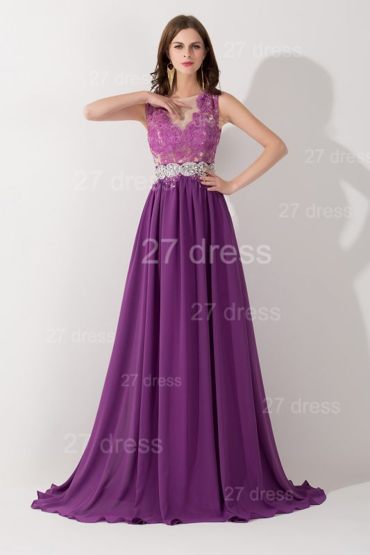 Newest Illusion Purple A-line Evening Dress Lace Appliques Beadings