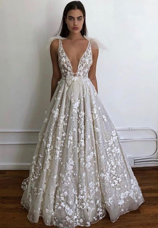 2020 Charming Deep V Neck Sleeveless A Line Wedding Dress | Hot Sell Lace Appliques Bridal Gown With Bow BC0645
