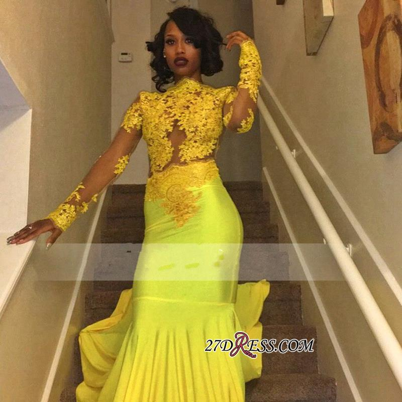 Appliques Long-Sleeve Yellow Lace High-Neck Beautiful Mermaid Prom Dress BK0