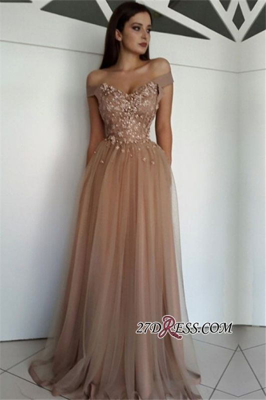 Off-the-Shoulder Gorgeous Tulle Beaded Prom Gowns