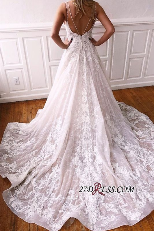Spaghetti-straps Gorgeous Applique A-line Wedding Dresses