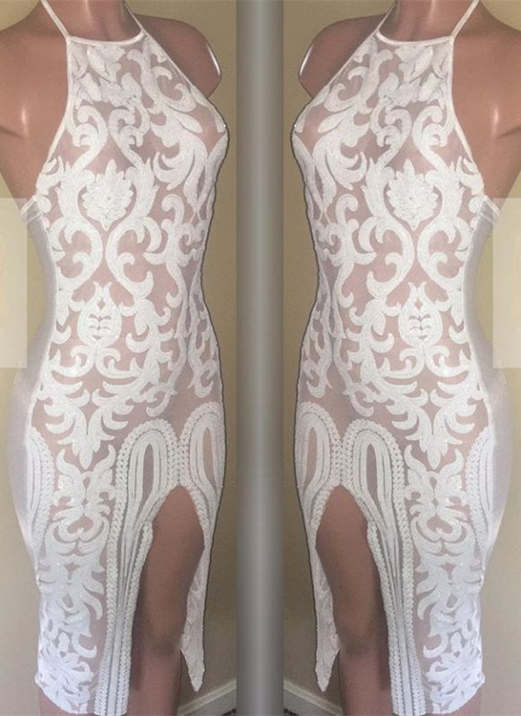 Sexy White Lace Short Homecoming Dresses | 2020 Sheath Prom Dress