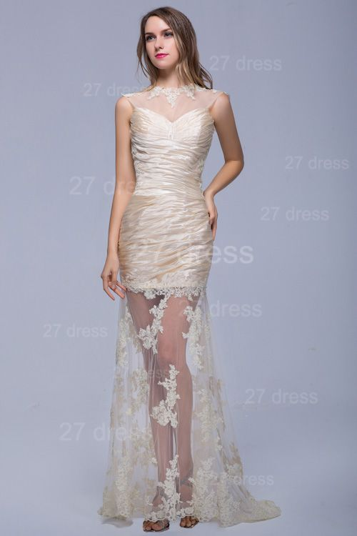 Sexy High Neck Lace Appliques Evening Dress Sweep Train