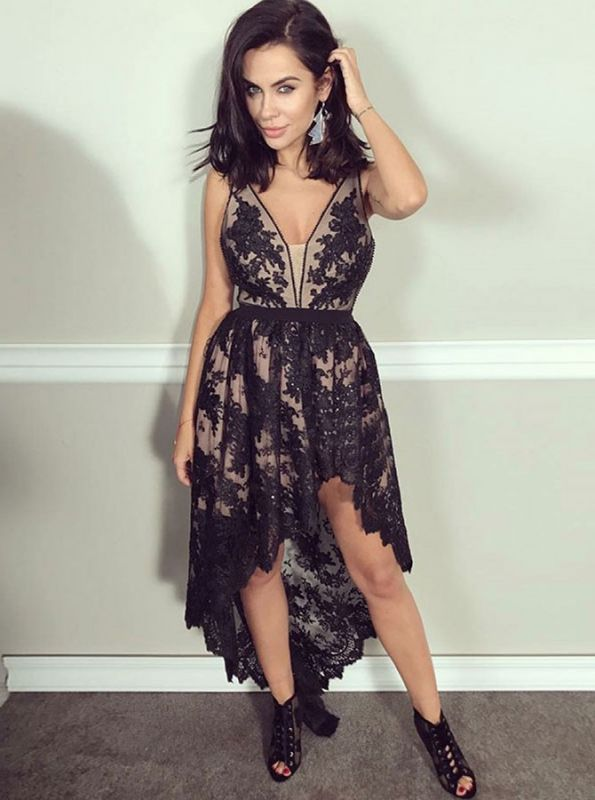 Delicate Lace Black Beads Hi-Lo Homecoming Dress | A-line V-neck Formal Dress