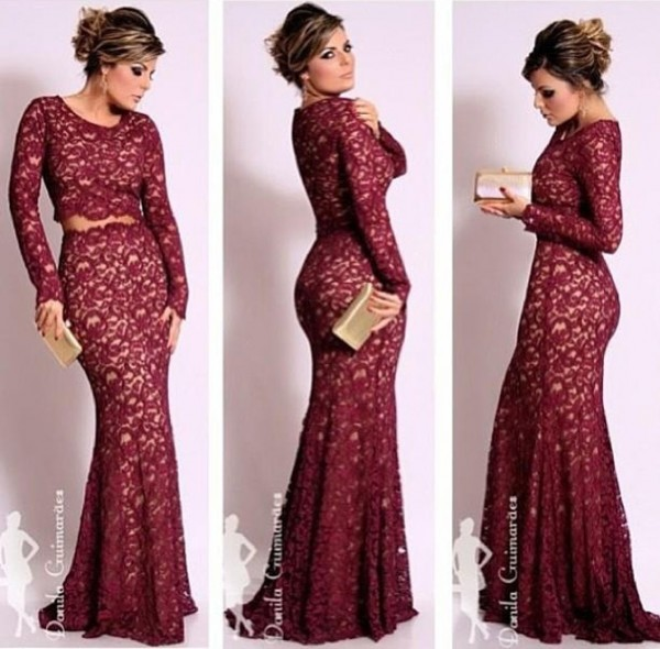 Beautiful Dark Red Lace Evening Dresses with Waistband Sheath 2020