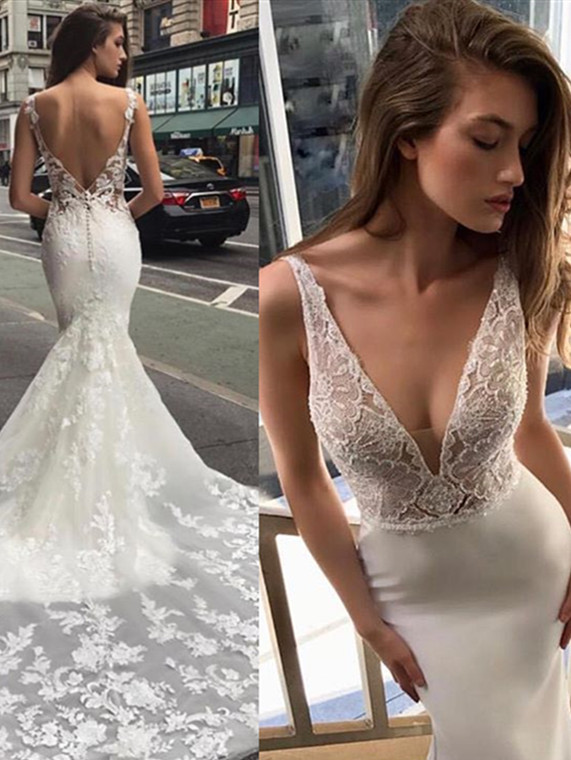 Glamorous Spaghetti Deep V Neck Mermaid Sleeveless Bridal Gown | 2020 Backless Wedding Dress With Lace Appliques