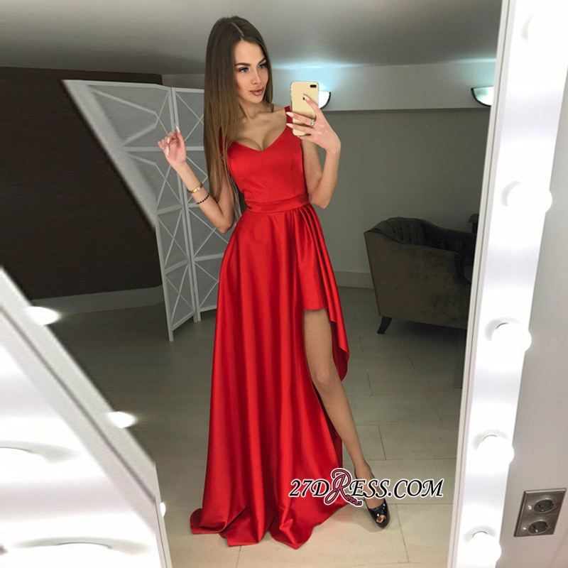 A-line Hi-Lo Sleeveless Red Modern Scoop Prom Dress