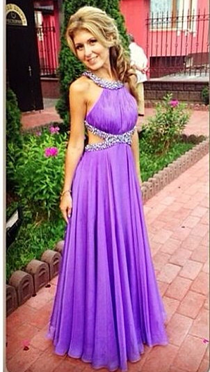 Purple A-Line Open Back Prom Gowns Criss-Cross Evening Dresses with Beadings