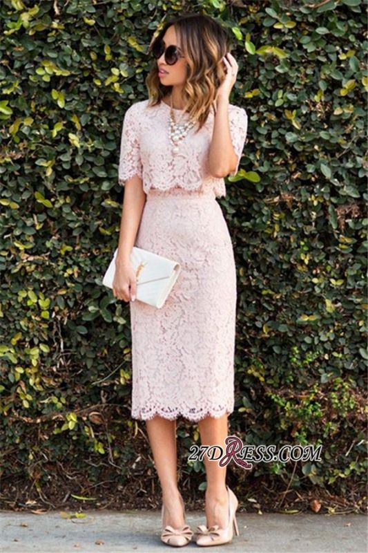 Cute Two-Piece Short-Sleeve Fashion Pink Lace Short Homecoming Dresses BA6003