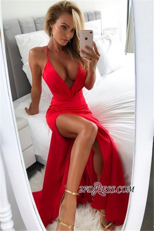 Sexy V-Neck 2020 Red Prom Dress | Mermaid Evening Party Gowns With Slit