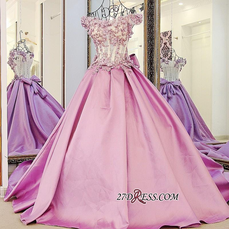 Off-the-Shoulder 2020 Puffy Beaded Applique Flowers Pink Prom Dresses With Bows