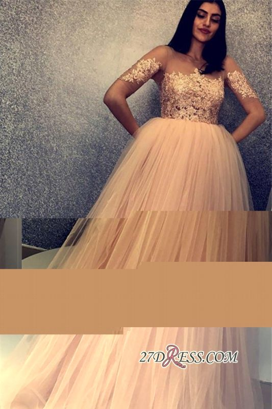 Beaded Scoop Short Tulle Sleeves Charming Prom Gowns