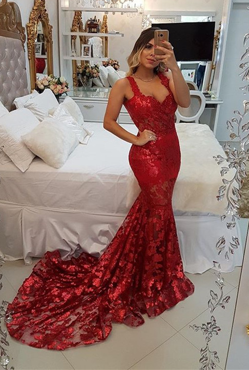 Modest Red Straps Mermaid Sweep Train Evening Dress   Lace Party Gown