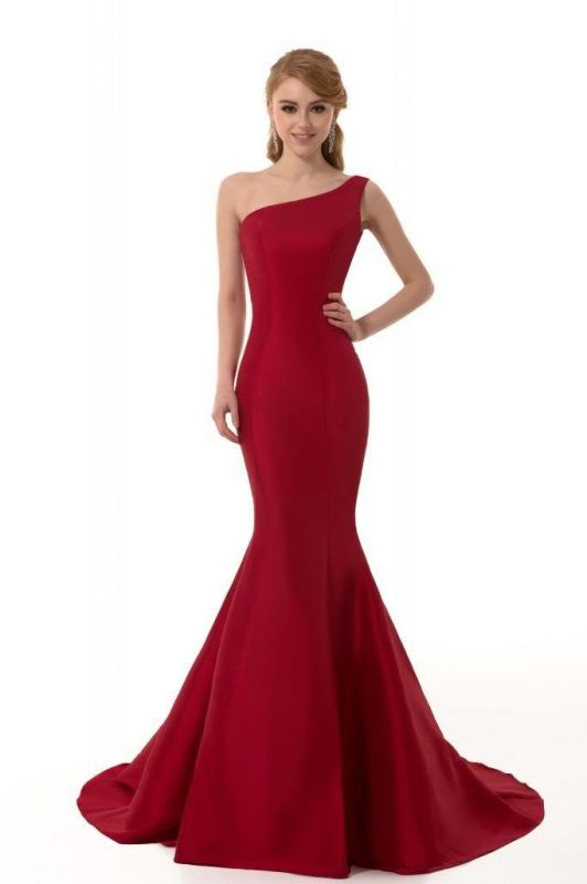 Sexy Burgundy One Shoulder Mermaid Prom Dress With Train