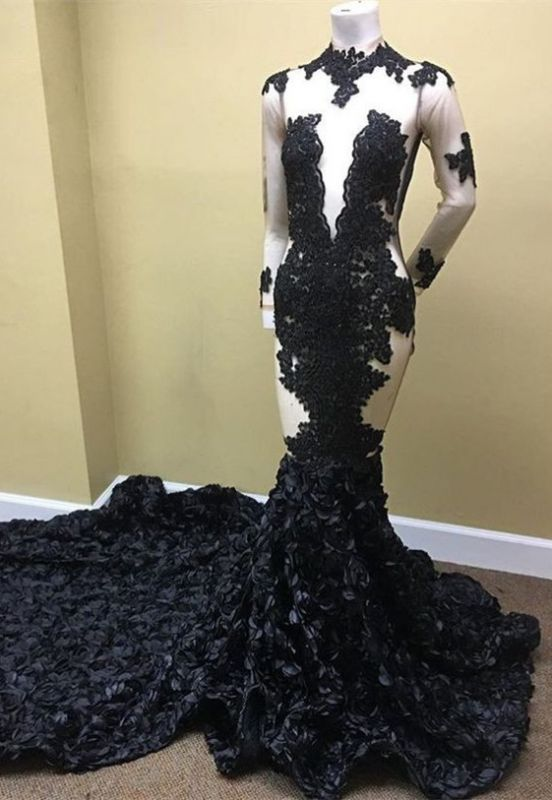 Sexy Black Long Sleeve 2020 Prom Dress | Lace Evening Gown With Flowers Bottom RM0