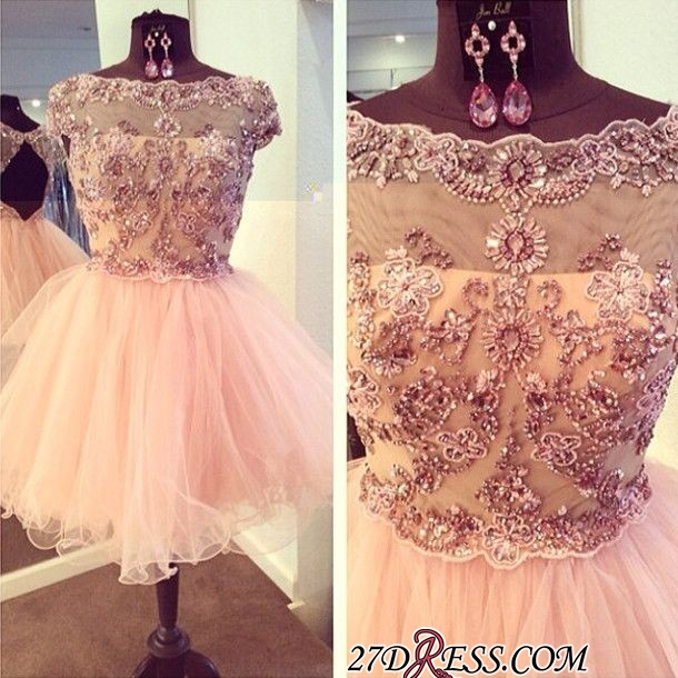 Bateau-Neck Beaded Luxury Puffy Capped-Sleeves Homecoming Dresses