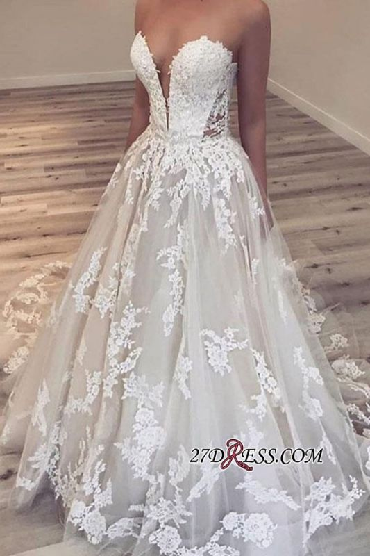 Ball-Gown Appliques Gorgeous Sweetheart Wedding Dresses