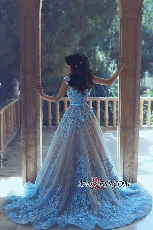 3D-Floral Appliques Luxury Sleeveless Blue A-line Prom Dresses