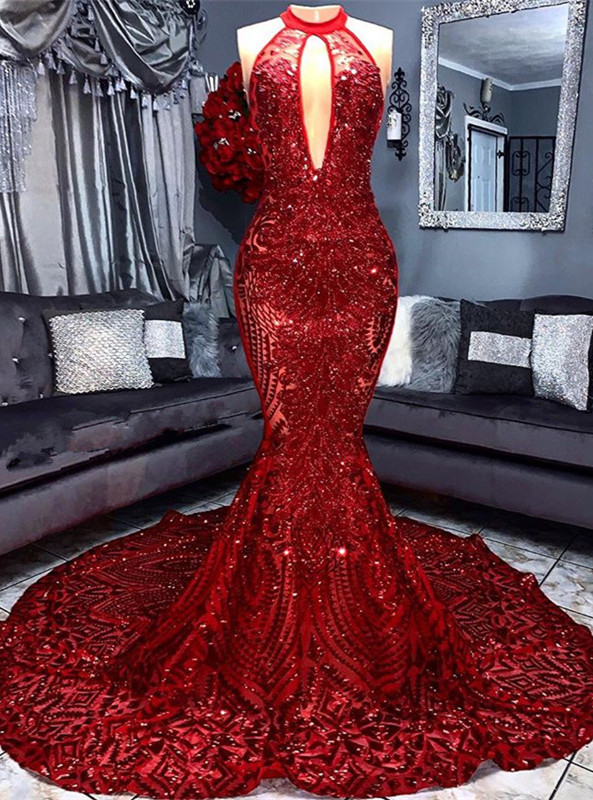 Sexy Red Sequins 2020 Prom Dress | 2020 Keyhole Sleeveless Mermaid Evening Gowns