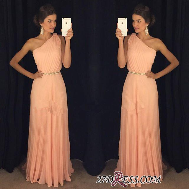 Chiffon Beautiful Floor-Length One-Shoulder Long 2020 Prom Dress BA5243