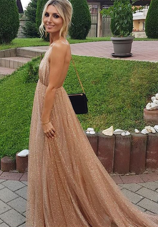 Sexy Backless Sequins Prom Dresses | 2020 Long Evening Gowns BC1004